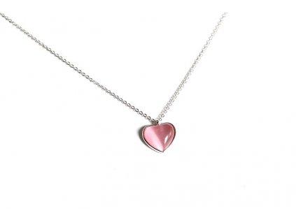 Stříbrný náhrdelník RŮŽOVÉ SRDCE - KOČIČÍ OKO od Olivie