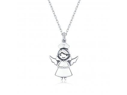 Stříbrný náhrdelník DOBRÝ ANDĚL, krásný dárek od srdíčka pro všechny zdravotníky, lékaře, sestřičky.