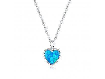 Stříbrný náhrdelník OPÁLOVÉ SRDCE od OLIVIE