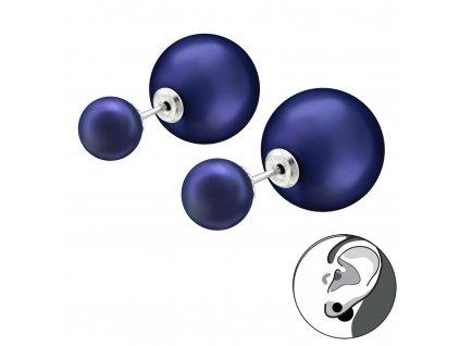 Stříbrné dvojité náušnice NOČNÍ MODRÁ od OLIVIE oboustranné náušnice