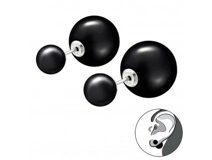 Stříbrné dvojité náušnice BLACK černé oboustranné náušnice od OLIVIE