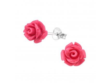 Stříbrné náušnice ROZÁRIE růžová růžička od OLIVIE