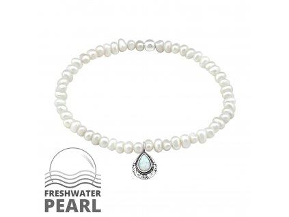Stříbrný náramek se sladkovodními perlami a opálem