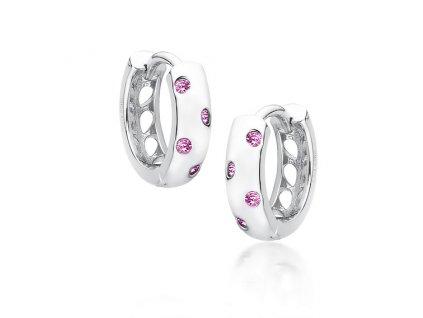 Stříbrné kroužky s růžovými zirkony OLIVIE