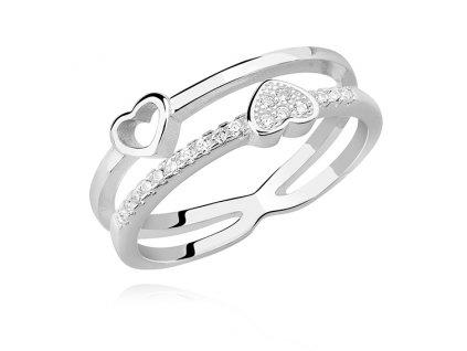 Stříbrný prstýnek TY a JÁ, krásný dárek z lásky nebo k Valentýnu. OLIVIE.