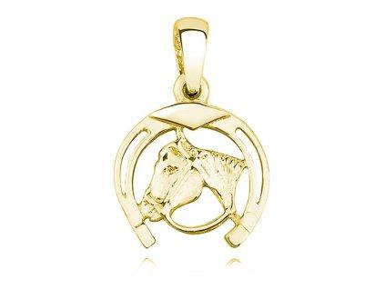 Stříbrný přívěsek PODKOVA S KONĚM GOLD OLIVIE , nejkrásnější dárek pro milovníky koní