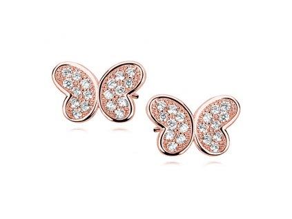 Stříbrné náušnice MOTÝL ROSE růžově pozlacený OLIVIE