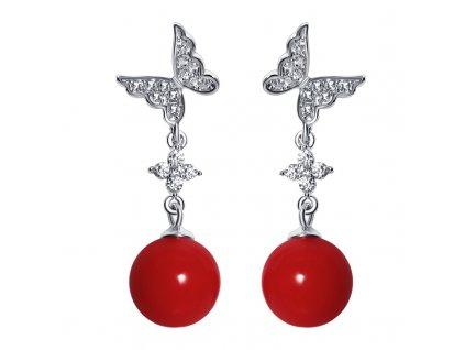 Stříbrné náušnice MOTÝL s červenou perlou od OLIVIE