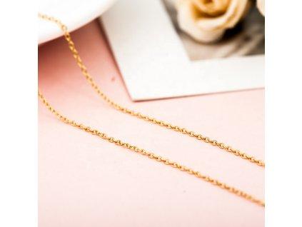 Levný 40cm GOLD stříbrný řetízek OLIVIE