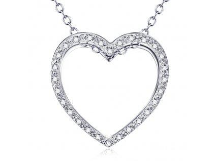 Stříbrný náhrdelník SRDCE se zirkony od OLIVIE