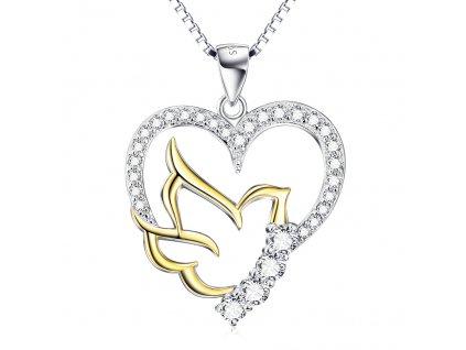 Stříbrný náhrdelník ZLATÝ PTÁČEK V SRDCI od OLIVIE