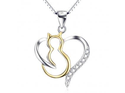 Stříbrný náhrdelník ZLATÁ KOČKA V SRDCI od OLIVIE