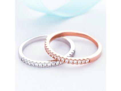 Stříbrný prstýnek ROSE TŘPYTIVÁ ZÁŘE růžově zlacený
