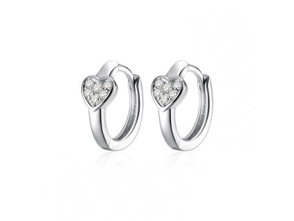 Stříbrné náušnice kroužky SRDÍČKO od OLIVIE, krásný dárek z lásky, k Valentýnu, k narozeninám.