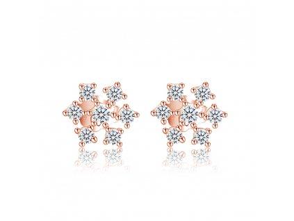 Stříbrné náušnice RŮŽOVÁ SNĚHOVÁ VLOČKA růžově pozlacené se zirkony od OLIVIE