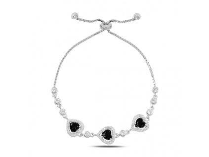 Stříbrný luxusní posuvný náramek ČERNÉ SRDCE od OLIVIE