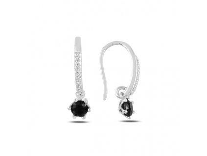 Stříbrné závěsné náušnice BLACK černý zirkon od OLIVIE