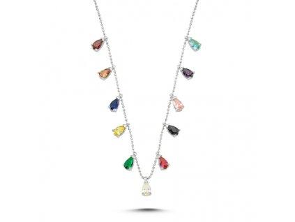 Stříbrný náhrdelník COLORS s barevnými zirkony od OLIVIE. Nastavitelná délka řetízku.