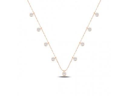 Stříbrný náhrdelník ROSE se zirkony růžově zlacený od OLIVIE