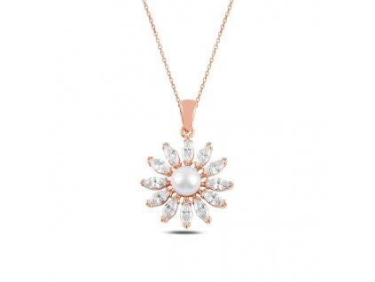 Stříbrný perlový náhrdelník ROSE & CZ růžově zlacený od OLIVIE