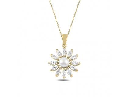 Stříbrný perlový náhrdelník GOLD & CZ pozlacený. OLIVIE.