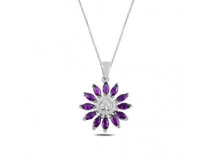 Stříbrný náhrdelník AMETYST od OLIVIE