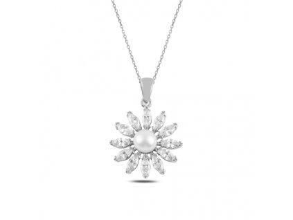 Stříbrný perlový náhrdelník se zirkony od OLIVIE