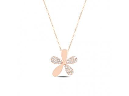 Stříbrný náhrdelník RŮŽOVÝ KVÍTEK od OLIVIE