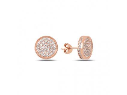 Stříbrné náušnice ROSE se zirkony růžově zlacené pecky od OLIVIE