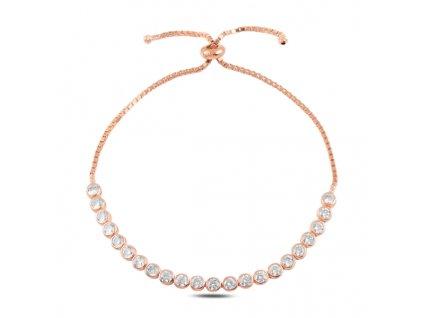 Stříbrný luxusní posuvný náramek ROSE od OLIVIE růžově zlacený