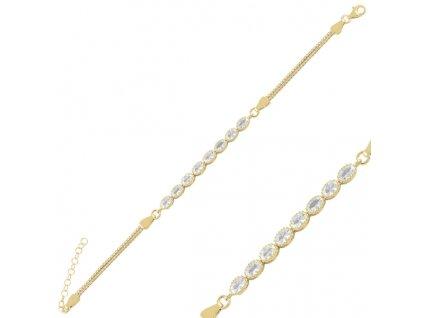 Stříbrný náramek GOLD zlacený se zirkony od OLIVIE.