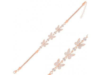 Stříbrný motýlí náramek ROSE růžově zlacený od OLIVIE