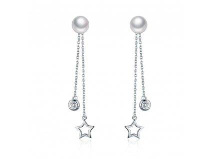 Visací řetízkové náušnice s perlou, hvězdičkou a zirkonem. OLIVIE