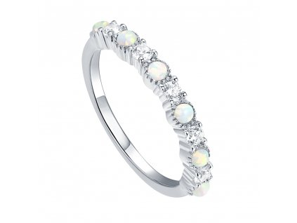 Luxusní stříbrný prsten s opály a zirkony od OLIVIE