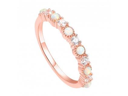 Luxusní stříbrný prsten ROSE růžově zlacený s opály a zirkony od OLIVIE