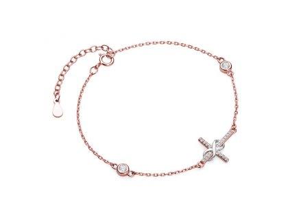 Stříbrný náramek ROSE KŘÍŽEK NEKONEČNO růžově pozlacený od OLIVIE