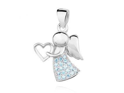 Stříbrný rhodiovaný přívěsek modrý ANDĚL se srdíčkem od OLIVIE