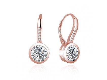 Stříbrné visací náušnice ROSE růžově zlacené se zirkony od OLIVIE