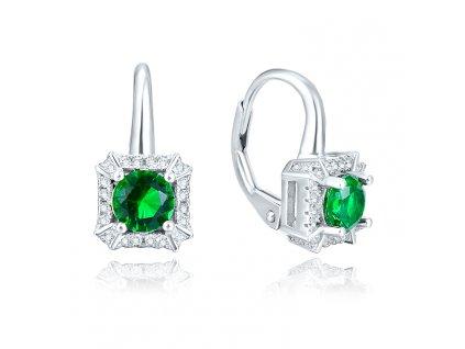 Stříbrné náušnice GREEN se zeleným krystalem od OLIVIE