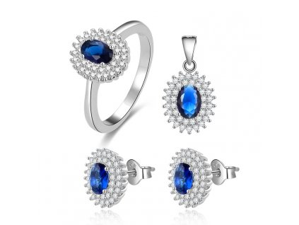 Stříbrná sada šperků SAFÍR s tmavě modrými zirkony od OLIVIE. Luxusní dárek pro ženu k narozeninám nebo Vánocům.