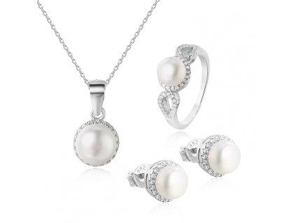 Stříbrná luxusní sada šperků PERLY od OLIVIE