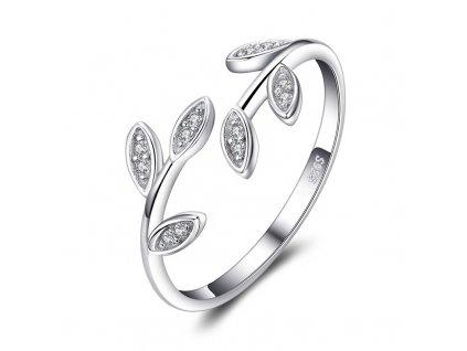 Stříbrný prsten VĚTVIČKA se zirkony od OLIVIE. Nastavitelný.