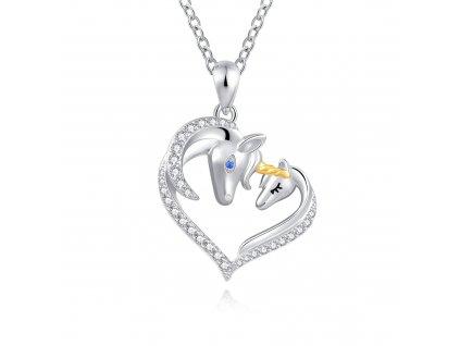 Stříbrný náhrdelník ZAMILOVANÍ JEDNOROŽCI od OLIVIE