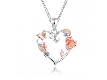 Stříbrný náhrdelník SRDCE PŘÍRODY od OLIVIE, růže, motýl, lístky, zirkony.