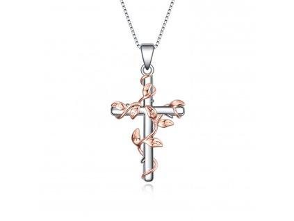 Stříbrný náhrdelník KŘÍŽ S LISTY od OLIVIE. Krásný náhrdelník s motivem kříže, který obepínají šlahouny s listy růží.