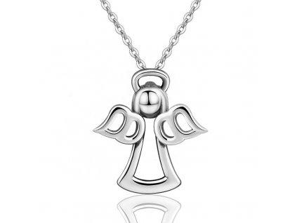 Stříbrný dětský i dámský náhrdelník ANDĚL od OLIVIE. Délka řetízku 40 až 45 cm.