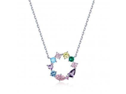 Stříbrný náhrdelník KRUH COLORS od OLIVIE s vícebarevnými zirkony.