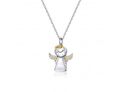 Stříbrný náhrdelník ANDĚL SE ZLATÝMI KŘÍDLY A SVATOZÁŘÍ