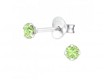 Stříbrné náušnice Swarovski GREEN zelený od OLIVIE