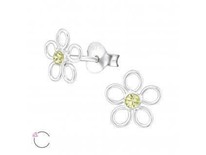 Stříbrné náušnice se Swarovski krystalem ŽLUTÝ KVÍTEK od OLIVIE